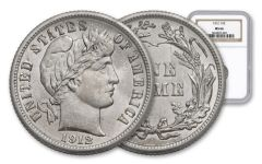 1912-P 10 Cent Silver Barber NGC MS66