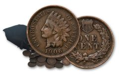 1864-1909 Indian Head Cents F/VF 60-Coin Bag