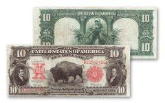 1901 10 Dollar Legal Tender Bison Currency Note Fine