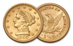 1840-1907 2.5 Dollar Gold Liberty Head XF
