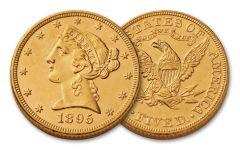 1866–1908 $5 Gold 8.36 Grams Liberty Head Type II BU