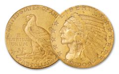 1908–1929 $5 Gold 8.36 Grams Indian Head XF