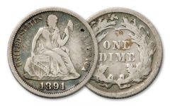 1837-1891 10 Cent Seated Liberty Fine