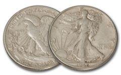 1916-1947 50 Cent Silver Walking Liberty XF/AU