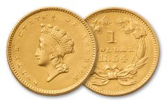 1854-1856 1 Dollar Gold Indian Type II AU