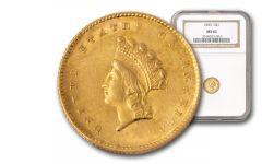 1854-1856 1 Dollar Gold Indian Type II NGC/PCGS MS62