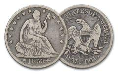 1853-1861-O 50 Cent Silver Seated Liberty Fine