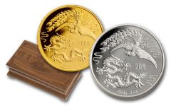 1990 China 2-oz Silver & Gold Dragon and Phoenix 2-Pc Set