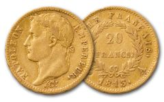 1803-1815 France 20 Franc Gold Napoleon I XF