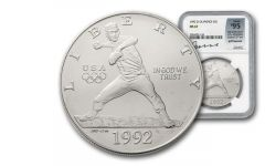 1992-D 1 Dollar Silver Olympic Baseball NGC MS67 Garrett Signed - 100 Greatest Coins