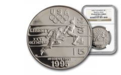1995-P 1 Dollar Silver Olympic Track and field NGC PF69