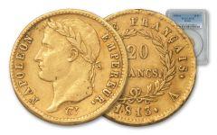 1813-A France 20 Dollars Franc Napoleon I PCGS AU55