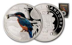 2014 Andorra Half Ounce Silver Kingfisher Bird Proof