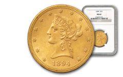 1838-1907 10 Dollar Gold Liberty NGC/PCGS MS62