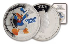 2014 Niue 1-oz Silver Disney Donald Duck NGC PF69 Colorized