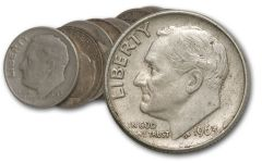 1946-1964 10 Cent Roosevelt Silver VG+ 10pc