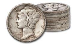 1916-1945 10 Cent Mercury Silver VG-VF 10pc