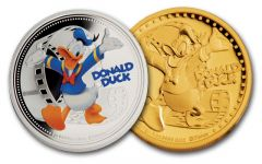 2014 Niue 1-oz Gold/Silver Disney Donald Duck NGC PF70 2pc Set