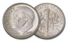 1946 10 Cent Roosevelt 10 Piece BU