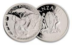 2016 Tanzania Serengeti Black Rhino Silver Plated Proof-Like