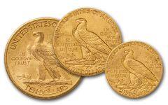 1907-1933 Gold Indian AU 3pc Set