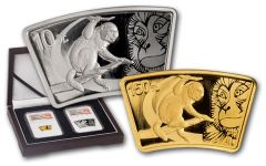 2016 China Gold and Silver Year of the Monkey Fan Shaped Set NGC PF70 UC