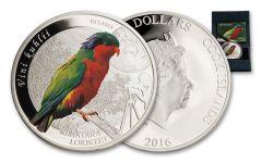 2016 Cook Islands 2 Dollar 1/2-oz Silver Rimatara Lorikeets Proof