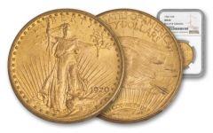 1920-P 20 Dollar 1-oz Gold Saint Gaudens NGC MS64 Rive d'Or