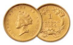 1854-1856 1 Dollar Gold Indian Type II BU