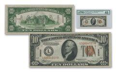 """1934 U.S. 10 Dollar Federal Reserve Note """"Hawaii"""" Mule PMG/PCGS 63PPQ"""