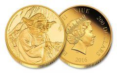 2016 Niue 200 Dollar 1-oz Gold Star Wars Yoda Proof