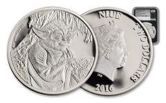 2016 Niue 2 Dollar 1-oz Silver Yoda NGC PF70UCAM- First Strike