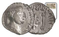 85-65 BC Ancient Silver Drachm of King Nahapana NGC MS