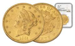 1861-P 20 Dollar Gold Liberty NGC AU58 Rive d'Or