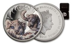 2016 Tuvalu 50 Cent 1/2-oz Silver Snow Leopard Cubs Proof