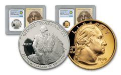 1982-S Half Dollar George Washington NGC PF69 Smithsonian Coin Classics 2pc Set