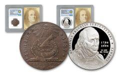 Benjamin Franklin NGC Genuine PF69 Smithsonian Coin Classics 2pc Set
