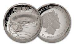 2016 Tuvalu 1-oz Silver Star Trek Enterprise High Relief Proof