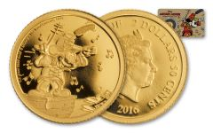 2016 Niue 2.50 Dollar Half Gram Gold Disney Mickey the Band Concert Proof