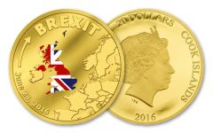 2016 Cook Island 20 Dollar 1/10-oz Gold Brexit Proof