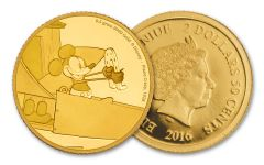 2016 Niue 2.50 Dollar Half Gram Gold Disney Mickey Plane Crazy Proof