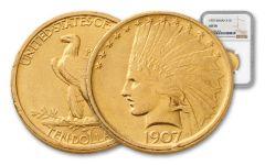 1907-P 10 Dollar Gold Indian NGC AU58