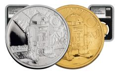 2016 Niue 1-oz Gold & Silver Star Wars R2D2 NGC PF69UCAM First Struck 2 Pc Set