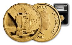 2016 Niue 25 Dollar 1/4-oz Gold Star Wars R2D2 PF69 First Release