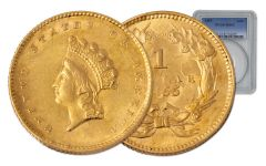 1855 1 Dollar Gold Indian Princess Type II PCGS MS62