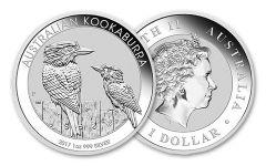 2017 Australia 1 Dollar 1-oz Silver Kookaburra BU