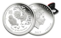 2017 Australia 1 Dollar 1-oz Silver Year of the Rooster Lunar Series II Proof