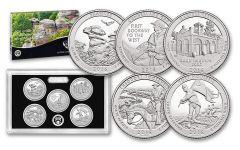 2016 America the Beautiful Quarters Silver 5 Pc Proof Set