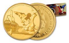 2016 Niue 2.50 Dollar Half Gram Gold Disney Mickey Fantasia Proof