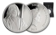 2017 Niue 2 Dollar 1-oz Silver Star Wars Obi-Wan Proof